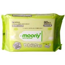 Салфетки Moony влажные мягкие для малышей, мягкая упаковка 80 шт.