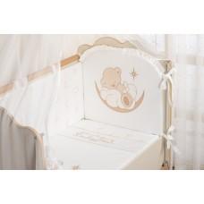 """Комлект постельного белья для новорожденного """"Счастливый мишка"""" (Бежевый)"""