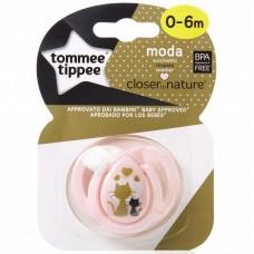 TOMMEE TIPPEE пустышка силиконовая Moda, 0-6 мес., 2 кошечки (Розовая)
