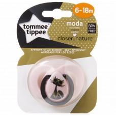 TOMMEE TIPPEE пустышка силиконовая Moda, 6-18 мес., с кошечкой (Розовая)