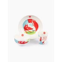 Набор детской посуды (тарелка, миска, стакан) fox