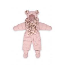 Комбинезон детский с меховым шарфом Розовый / violet ice, рост