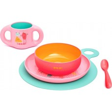 Набор посуды для кормления Suavinex Booo, 3158372, розовый, от 6 месецев, 5 предметов