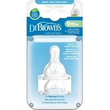 Dr. Brown's Соска для густых жидкостей, Y-разрез для бутылочки с узким горлышком, от 9 месяцев 2 шт, размер высота соски - 40, мм