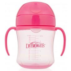 Dr. Brown's Поильник-непроливайка с мягким носиком от 6 месяцев цвет розовый 180 мл