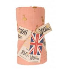 Одеяло Bizzi Growin (Биззи Гровин) Gold Flamingo муслин 3 слоя 110*130 BG610