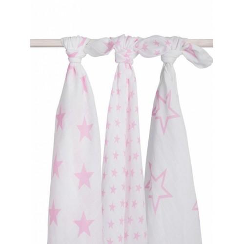 Jollein Комплект муслиновых пеленок 115х115 см, 3 шт, Little star pink