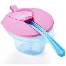 TOMMEE TIPPEE тарелочка с отделением для разминания и охлаждения пищи (розовая крышка)