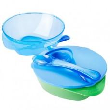 TOMMEE TIPPEE Набор глубоких тарелочек с крышкой и ложкой, 2 шт., голубой